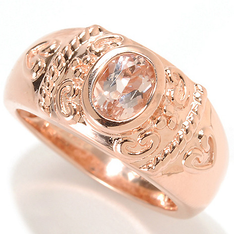 133-897 - NYC II Oval Morganite Etruscan Milgrain Band Ring