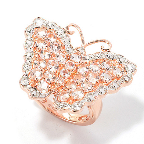 133-900 - NYC II 3.24ctw Morganite & White Zircon Butterfly Ring