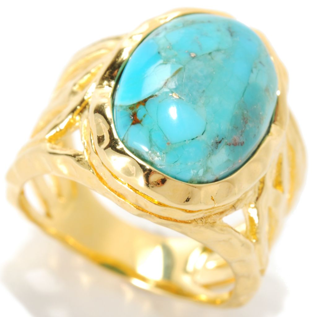 133-904 - Toscana Italiana 18K Gold Embraced™ 15 x 11mm Oval Turquoise Hammered Ring