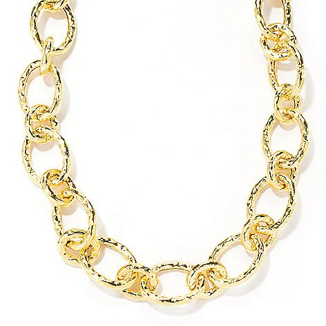 133-905 - Toscana Italiana 18K Gold Embraced™ 19'' Hammered Link Toggle Necklace