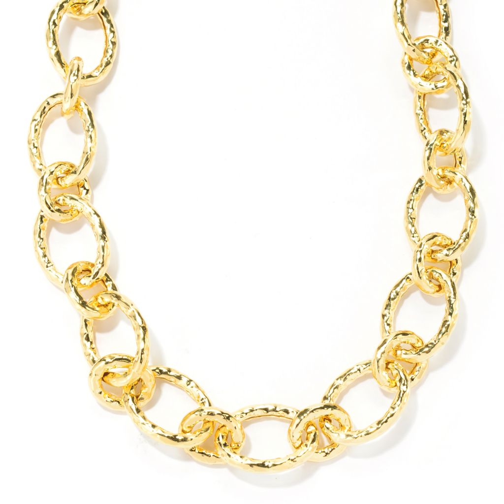 "133-905 - Toscana Italiana 18K Gold Embraced™ 19"" Hammered Link Toggle Necklace"