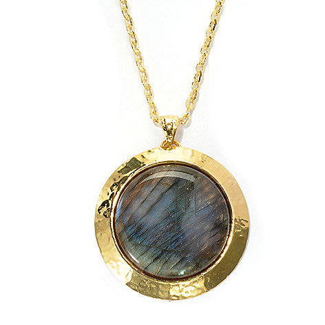 133-907 - Toscana Italiana Gold Embraced™ 35mm Labradorite Medallion Pendant w/ Hammered Chain
