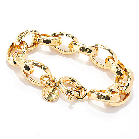 133-910 - Toscana Italiana 18K Gold Embraced™ 8.5'' Hammered Cable Link Bracelet