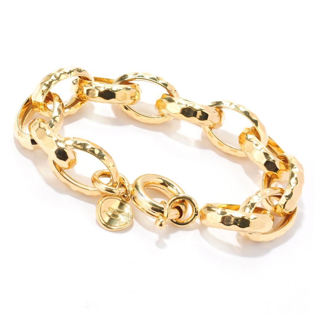 "133-910 - Toscana Italiana 18K Gold Embraced™ 8.5"" Hammered Cable Link Bracelet"