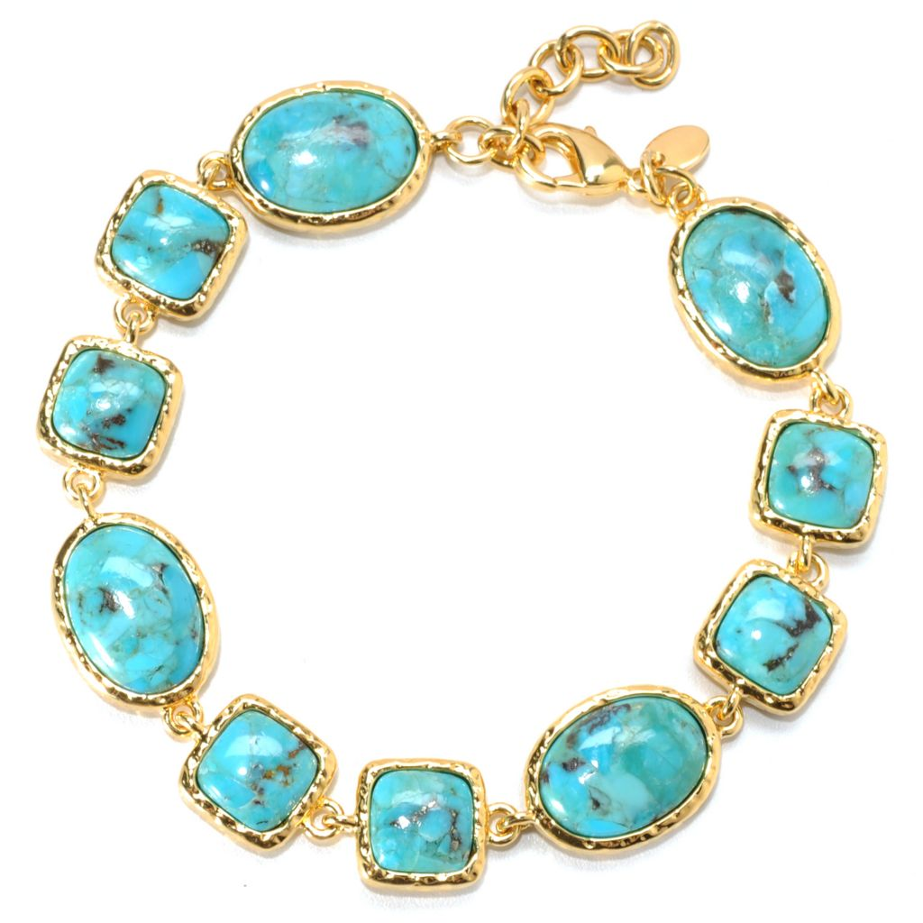 "133-911 - Toscana Italiana 18K Gold Embraced™ 7"" Oval & Square Turquoise Station Hammered Bracelet"