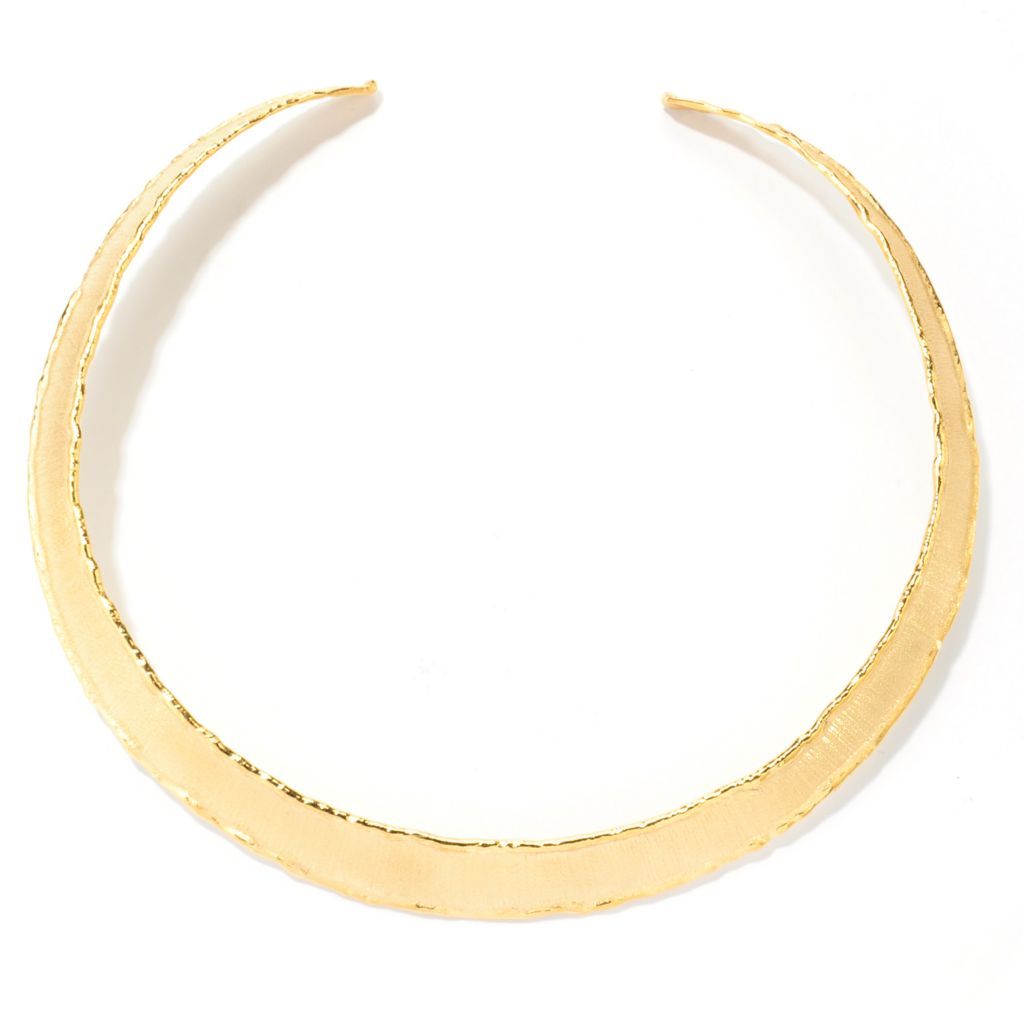 "133-913 - Toscana Italiana Gold Embraced™ 12.5"" Textured Edge Etruscan Collar Necklace"