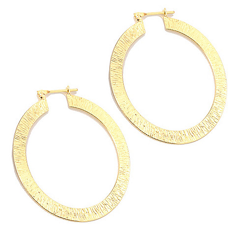 133-915 - Toscana Italiana Gold Embraced™ 2'' Textured Hoop Earrings