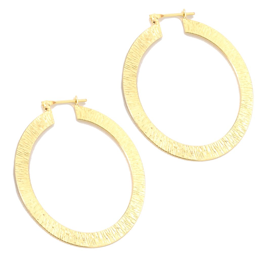 "133-915 - Toscana Italiana 18K Gold Embraced™ 2"" Textured Hoop Earrings"