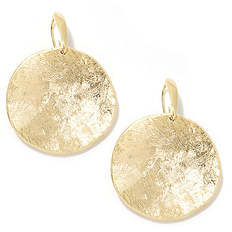 133-916 - Toscana Italiana 18K Gold Embraced™ 1.75'' Textured Concave Disk Drop Earrings