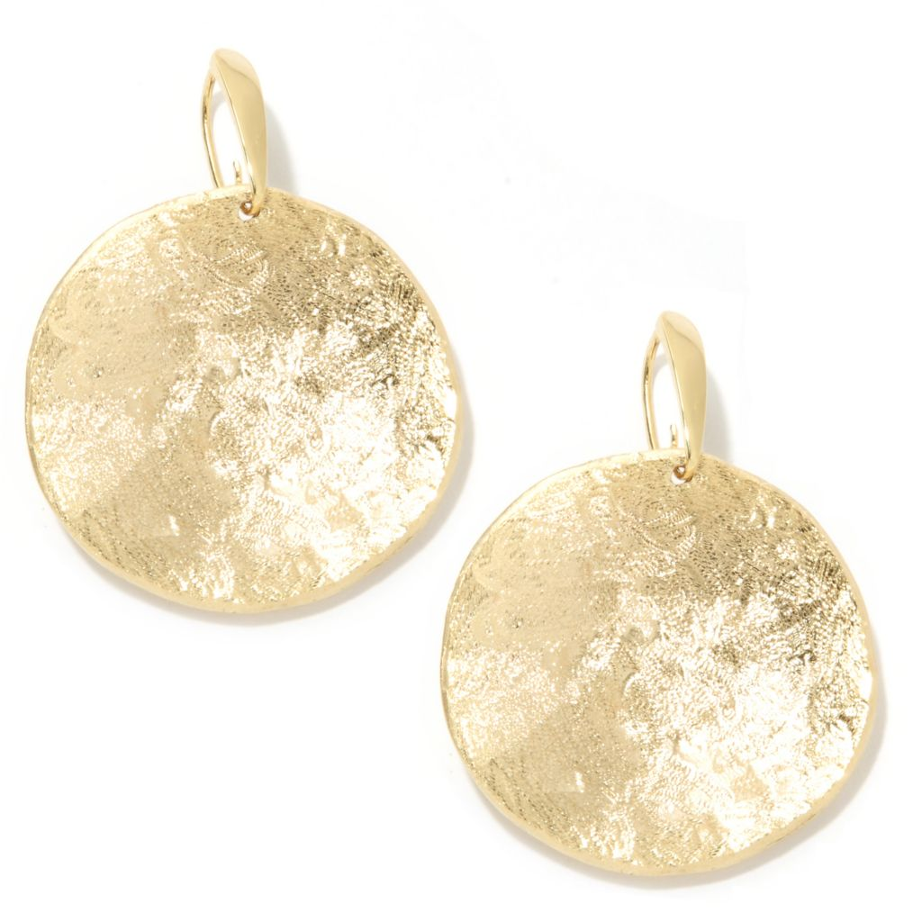 "133-916 - Toscana Italiana 18K Gold Embraced™ 1.75"" Textured Concave Disk Drop Earrings"