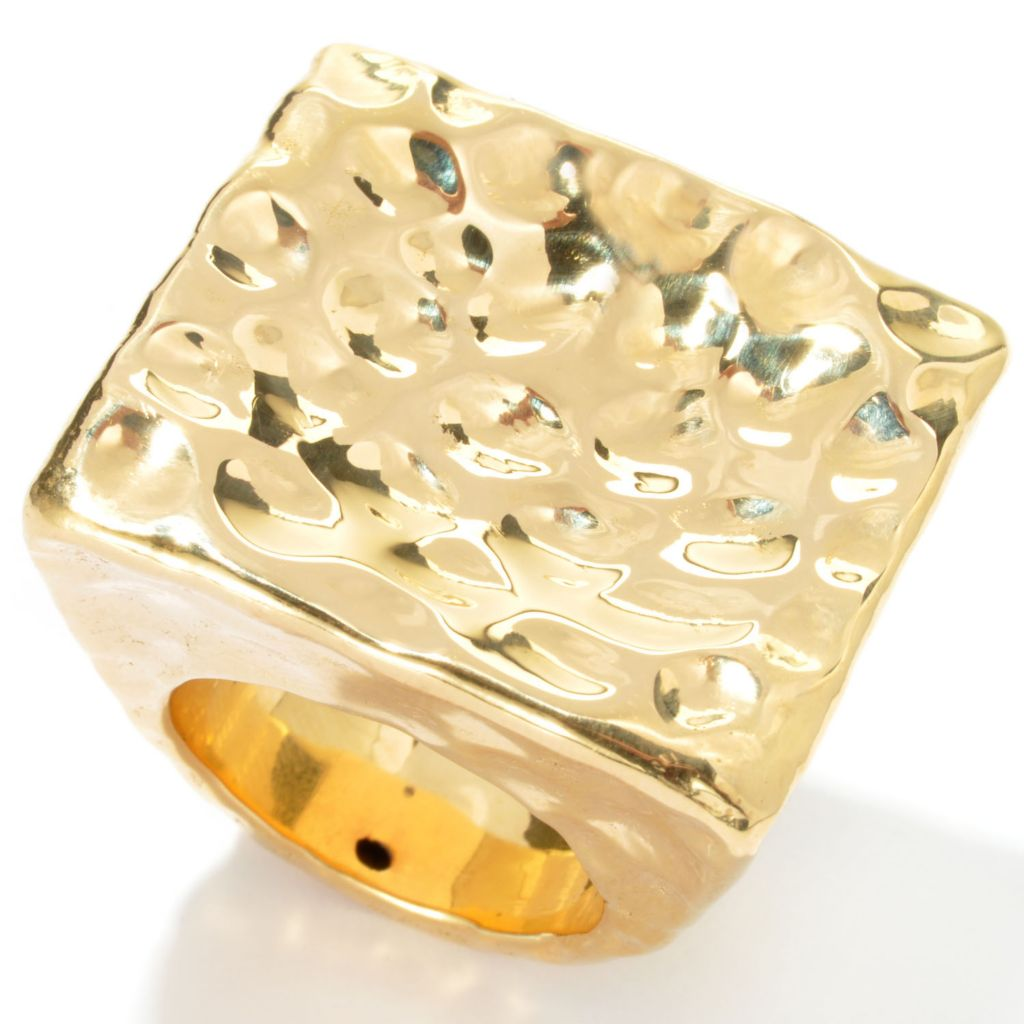 133-917 - Toscana Italiana 18K Gold Embraced™ Electroform Martellato Square Top Ring