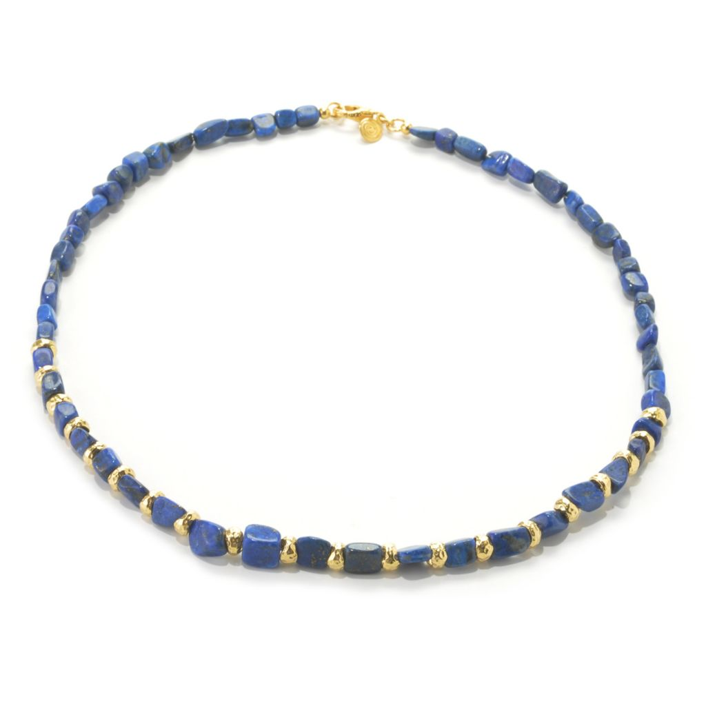 "133-919 - Toscana Italiana 18K Gold Embraced™ 22"" Lapis Bead & Textured Disk Station Necklace"