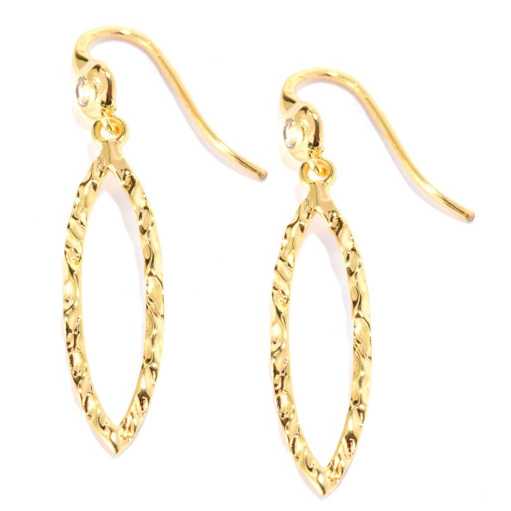 "133-920 - 1.75"" White Topaz Marquise Shaped Drop Earrings"