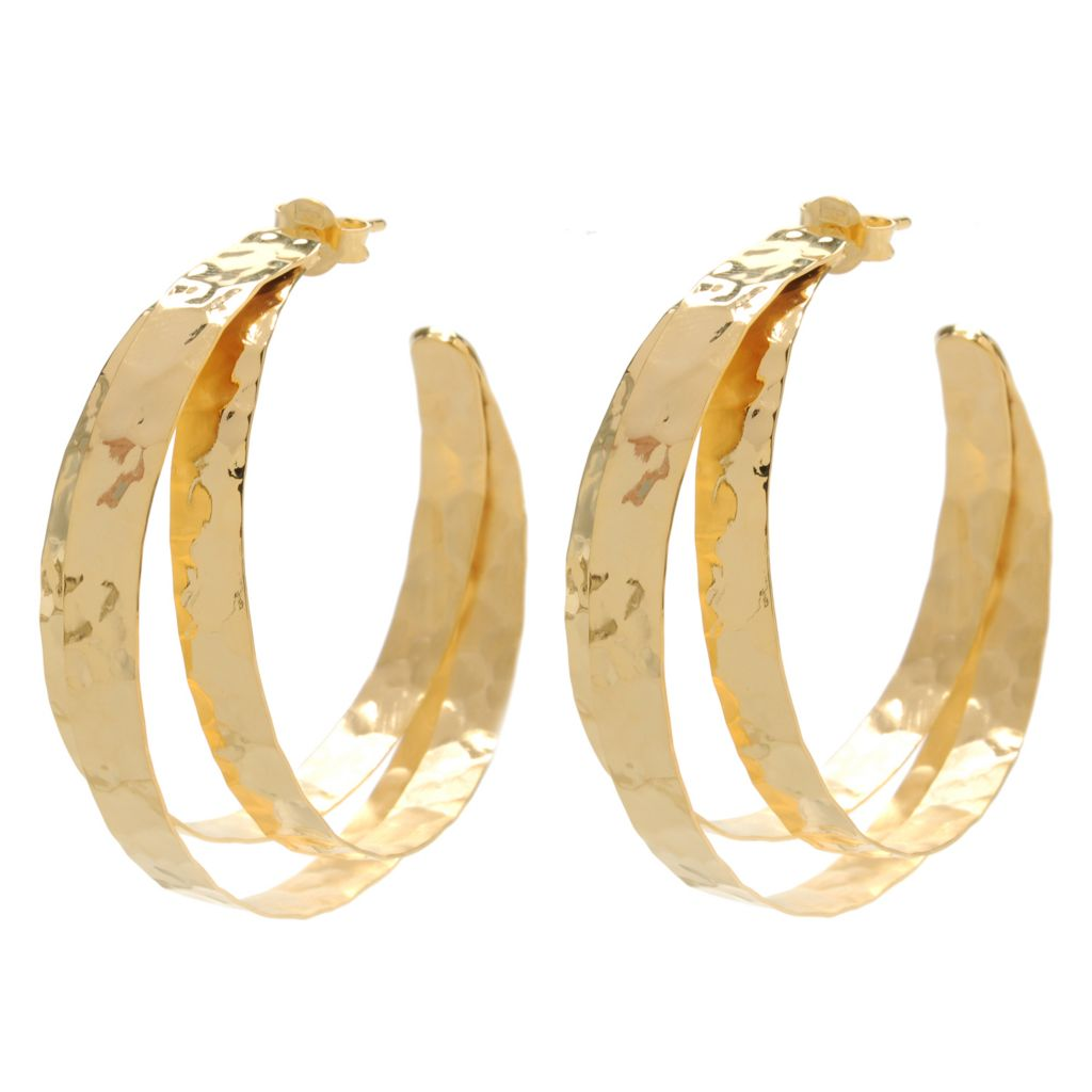 "133-921 - Toscana Italiana Gold Embraced™ 1.75"" Hammered Three-Panel Hoop Earrings"
