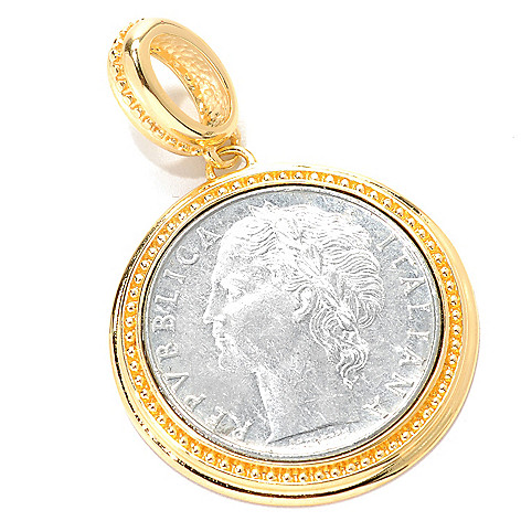 133-923 - Toscana Italiana 18K Gold Embraced™ Two-tone Italian 100 Lire Coin Pendant