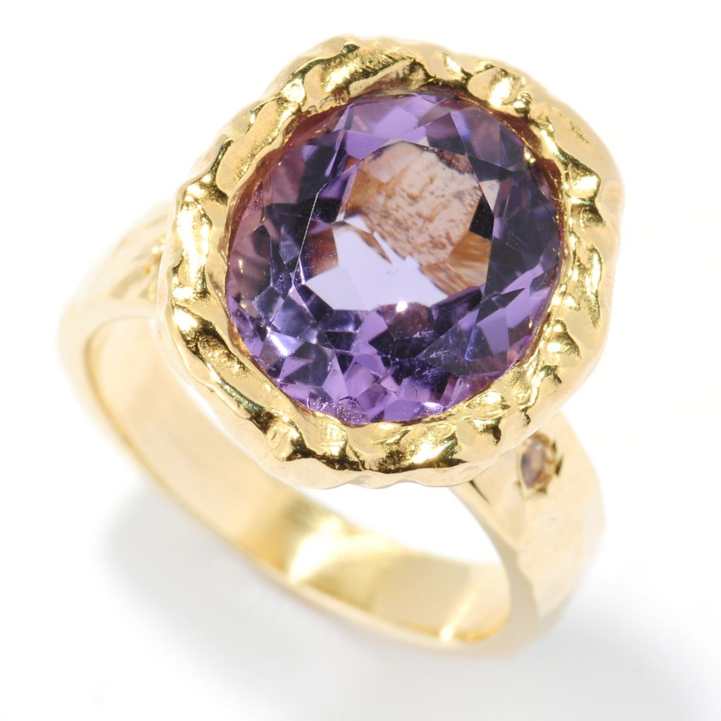 133-924 - Toscana Italiana Gold Embraced™ 4.06ctw Gemstone & White Topaz Hammered Ring