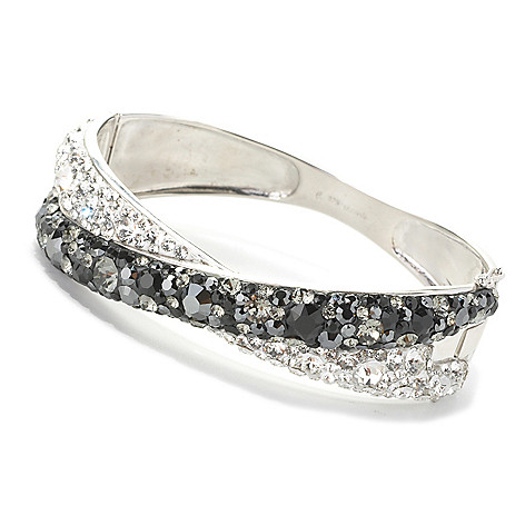 133-927 - Adaire™ Sterling Silver Crossover Bangle Bracelet Made w/ Swarovski® Elements