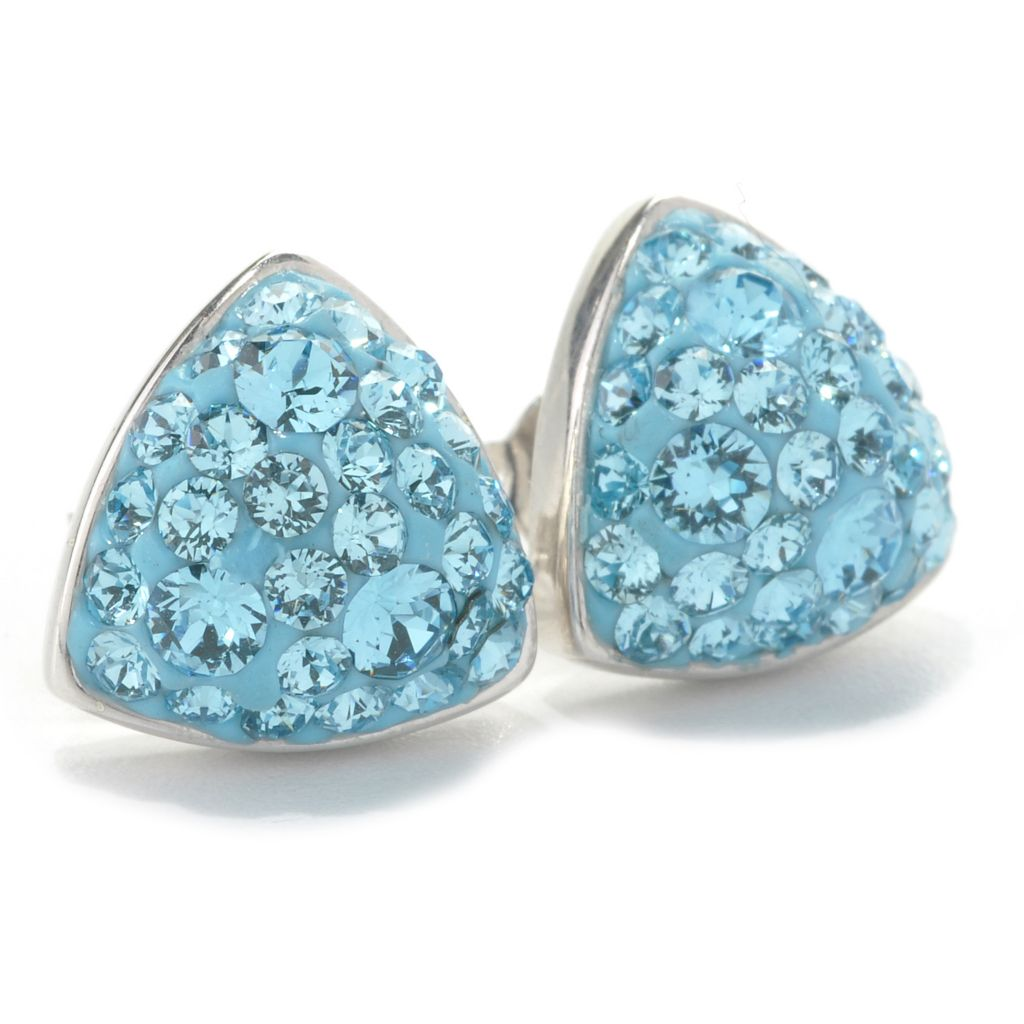 133-930 - Adaire™ Sterling Silver Triangle Stud Earrings Made w/ Swarovski® Elements
