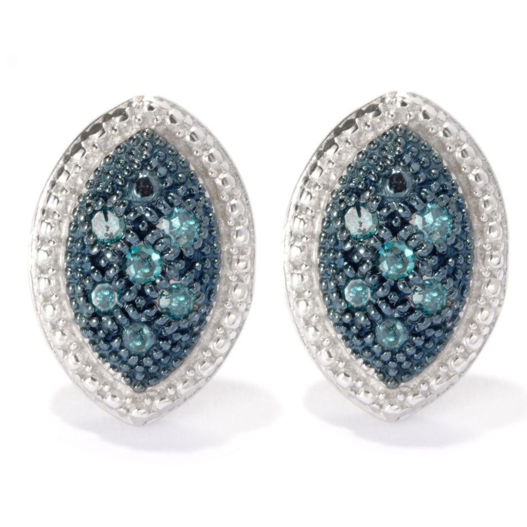 133-940 - Diamond Treasures Sterling Silver 0.10ctw Fancy Color Diamond Beadwork Earrings