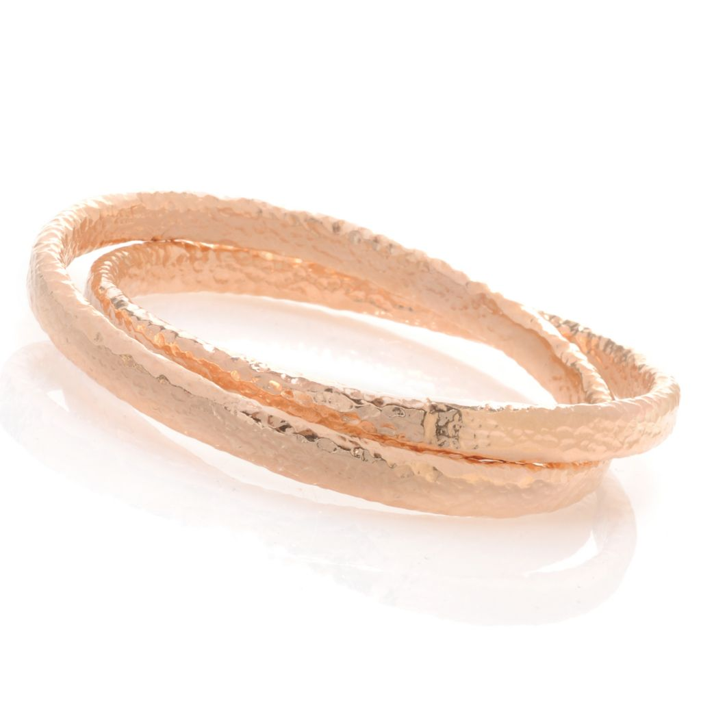"133-946 - Toscana Italiana Set of Two 18K Gold Embraced™ 7.5"" Interlocking Bangle Bracelets"