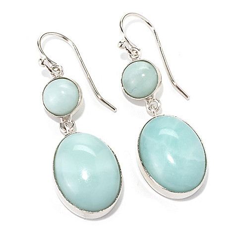 133-949 - Gem Insider Sterling Silver 1.5'' Amazonite Double Drop Earrings