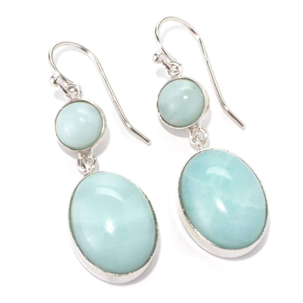 "133-949 - Gem Insider Sterling Silver 1.5"" Amazonite Double Drop Earrings"