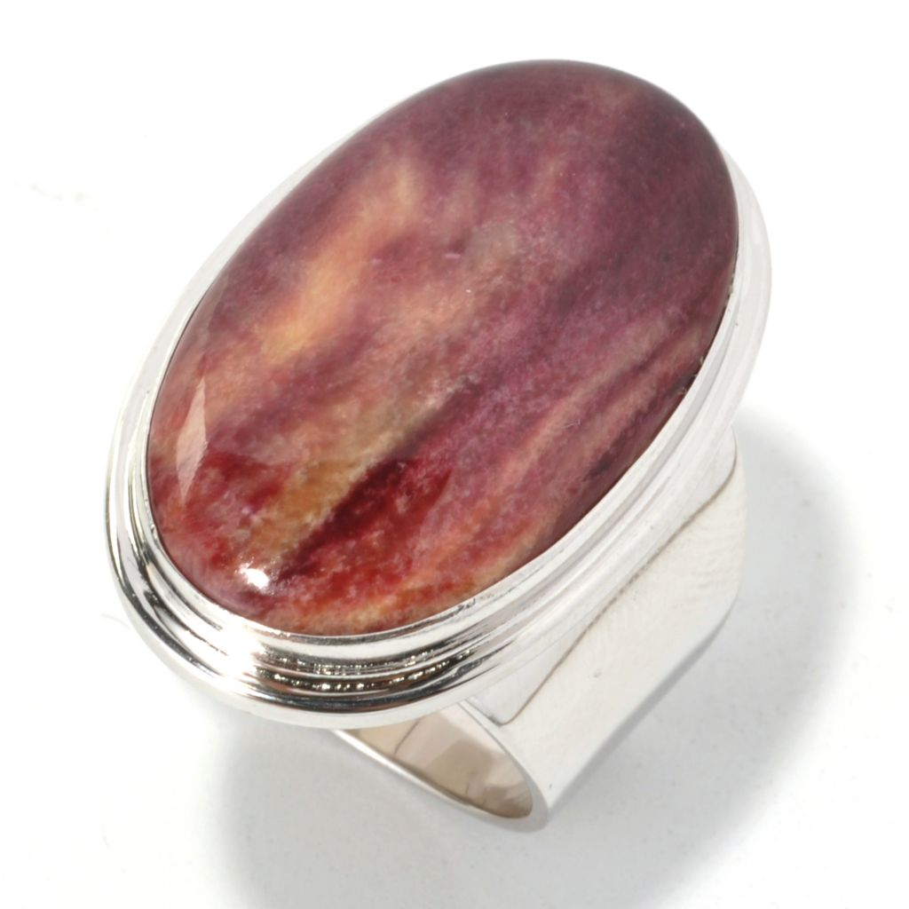 133-950 - Gem Insider Sterling Silver 26 x 15mm Oval Purple Spiny Oyster Shell Ring