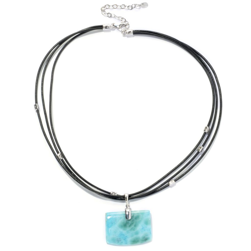 "133-951 - Gem Insider Sterling Silver 18"" 35 x 25mm Larimar & Leather Cord Necklace"