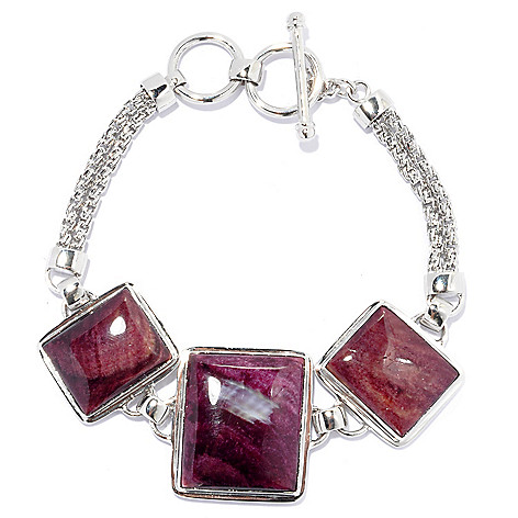133-952 - Gem Insider 8'' Sterling Silver 22 x 19mm Purple Spiny Oyster Shell Toggle Bracelet