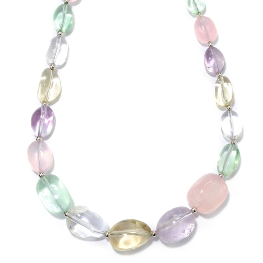 "133-955 - Gem Insider Sterling Silver & Stainless Steel 18"" Multi Color Quartz Necklace"