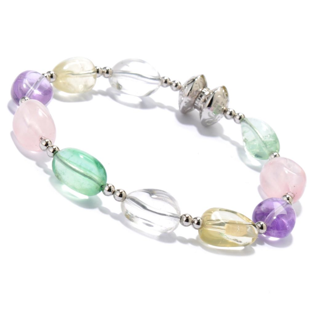 "133-956 - Gem Insider Sterling Silver & Stainless Steel 7.75"" Multi Color Quartz Bracelet"