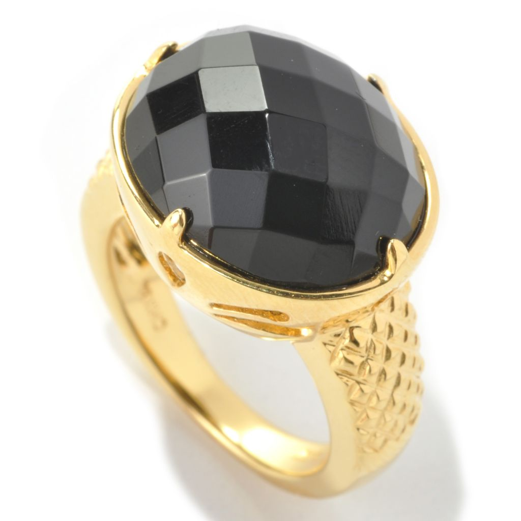 133-963 - 16 x 14mm Oval Faceted Black Onyx East-West Ring