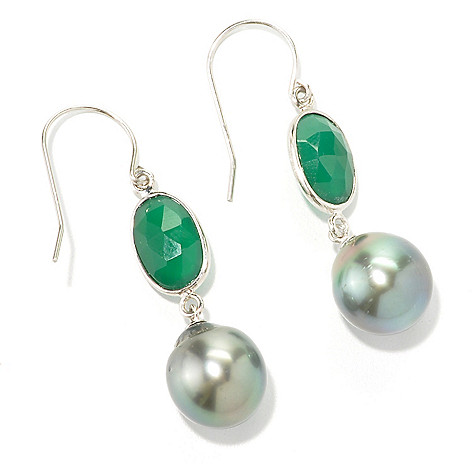 133-966 - Sterling Silver 1.75'' 11-12mm Tahitian Cultured Pearl & Green Onyx Dangle Earrings