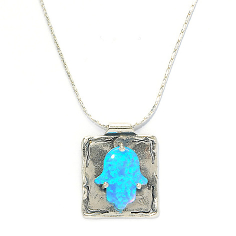 133-970 - Passage to Israel Sterling Silver 18'' Simulated Blue Opal Hamsa Necklace