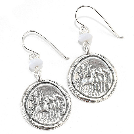 133-971 - Passage to Israel Sterling Silver 1.75'' 6mm Blue Lace Agate Circle Drop Earrings