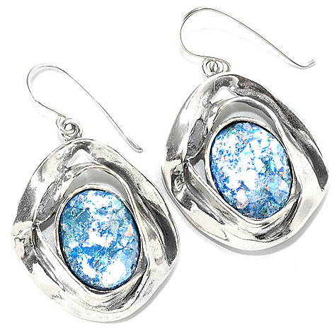 133-972 - Passage to Israel Sterling Silver 1.5'' 16 x 12mm Oval Roman Glass Ribbon Drop Earrings