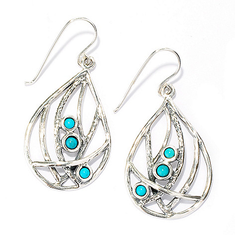 133-974 - Passage to Israel Sterling Silver 1.75'' Turquoise Teardrop Earrings
