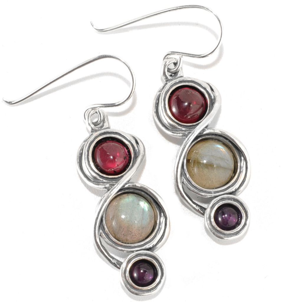 "133-975 - Passage to Israel Sterling Silver 1.5"" Labradorite, Amethyst & Garnet Drop Earrings"