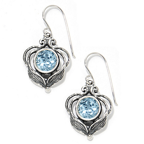 133-976 - Passage to Israel Sterling Silver 1.25'' Gemstone Leaf & Vine Drop Earrings