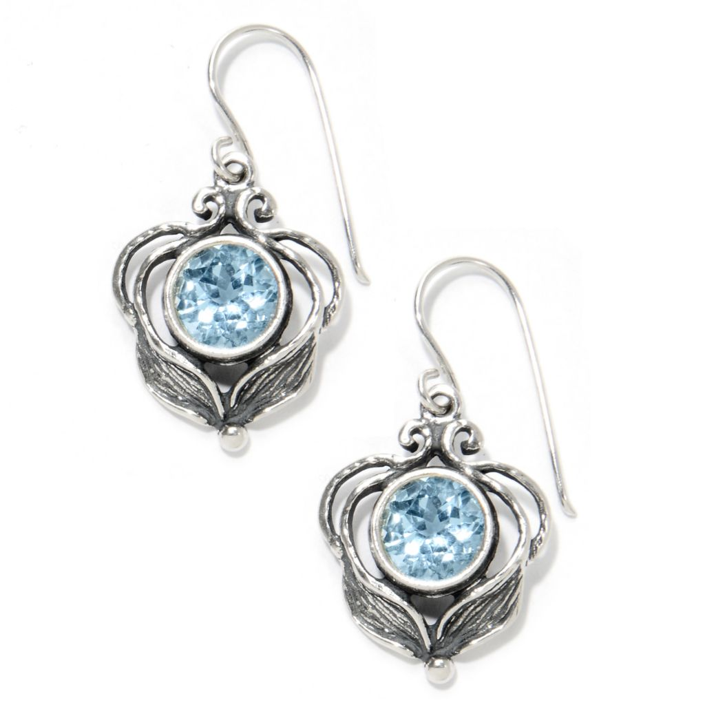 "133-976 - Passage to Israel Sterling Silver 1.25"" Gemstone Leaf & Vine Drop Earrings"