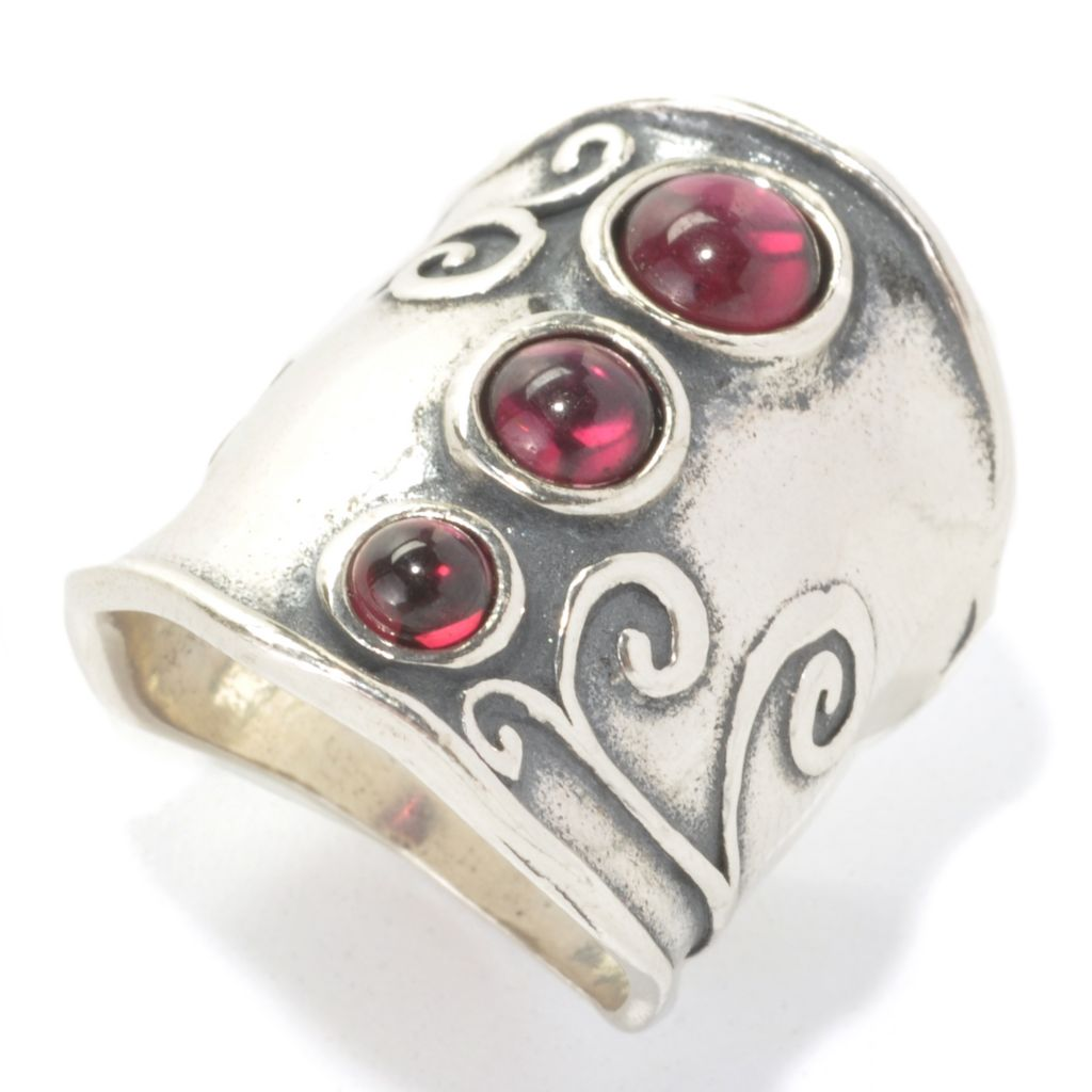 133-982 - Passage to Israel Sterling Silver Garnet Cabochon Three-Stone Elongated Ring