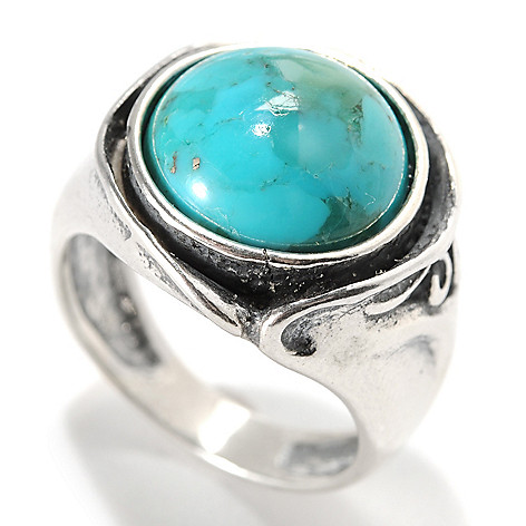 133-985 - Passage to Israel Sterling Silver 12mm Turquoise Cut-out Swirl Oxidized Ring