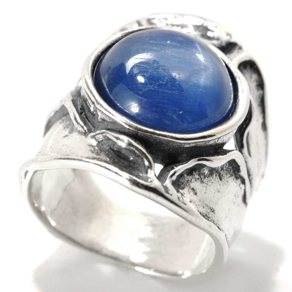133-986 - Passage to Israel Sterling Silver 12mm Gemstone Sculpted Wide Band Ring