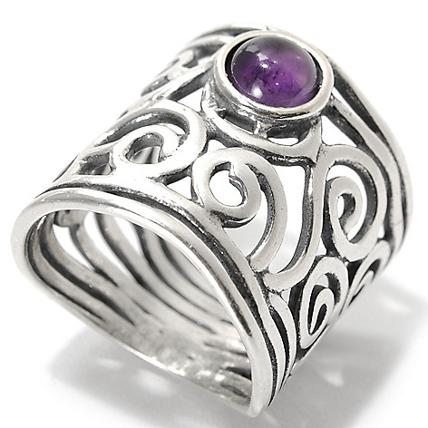 133-987 - Passage to Israel Sterling Silver Amethyst Cabochon Open Work Swirl Wide Band Ring