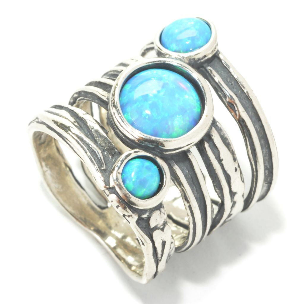 133-988 - Passage to Israel Sterling Silver Simulated Blue Opal Three-Stone Multi Row Ring