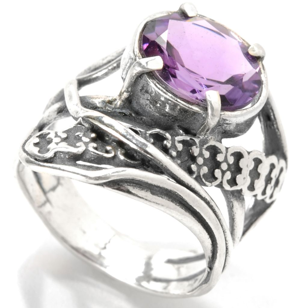 133-990 - Passage to Israel Sterling Silver Oval Gemstone Dimensional Multi Row Ring