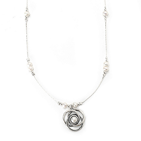 133-993 - Passage to Israel Sterling Silver 4-6mm Freshwater Cultured Pearl Pendant & Necklace