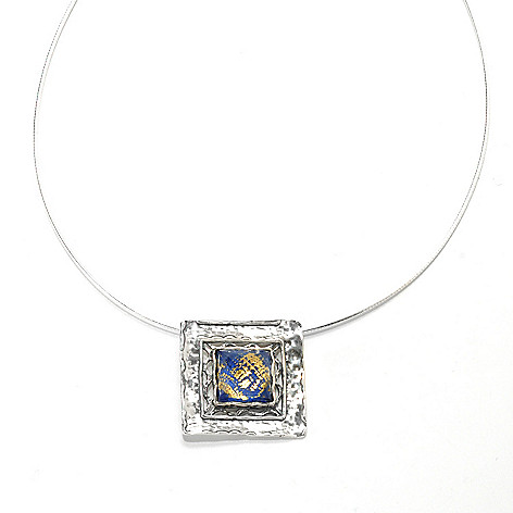 133-994 - Passage to Israel™ Sterling Silver 18'' Lapis & Quartz Doublet Square Drop Necklace