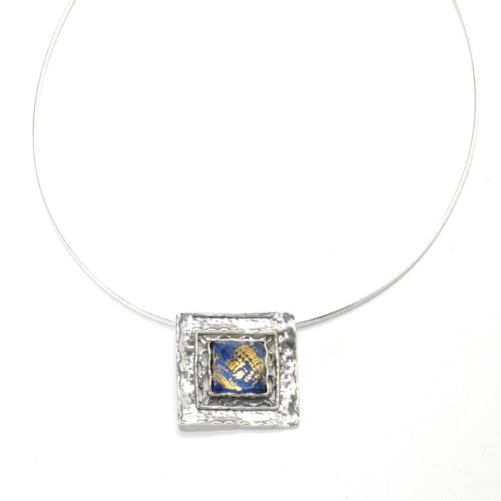 "133-994 - Passage to Israel Sterling Silver 18"" Lapis & Quartz Doublet Square Drop Necklace"