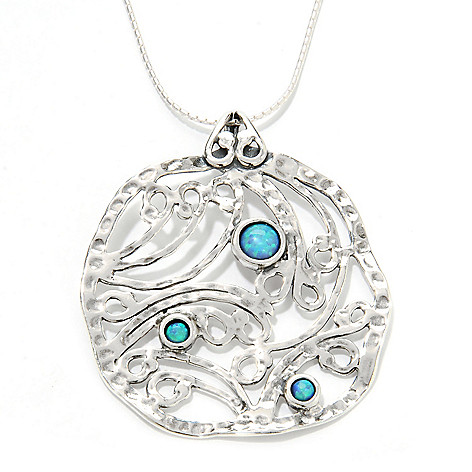 133-997 - Passage to Israel Sterling Silver Simulated Blue Opal Swirl Pendant w/ 18'' Chain